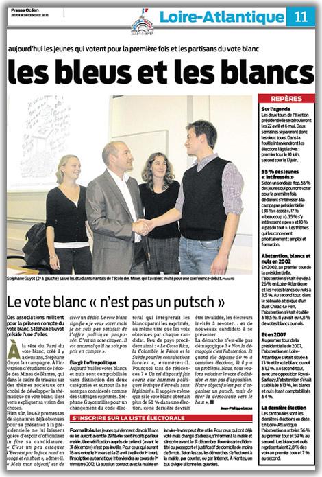 Article du journal Presse Ocean sur le Vote Blanc paru le 08/12/2011