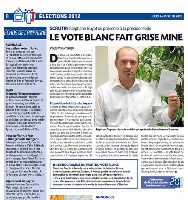 Article du Parti du Vote Blanc paru dans le journal 20 Minutes !
