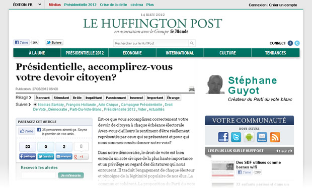 Huffington Post : Présidentielle ...