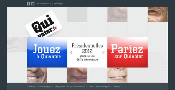 Quivoter est un jeu indépendant et gratuit, dont l'objectif est d'intéresser les internautes à la chose politique tout en les divertissant...