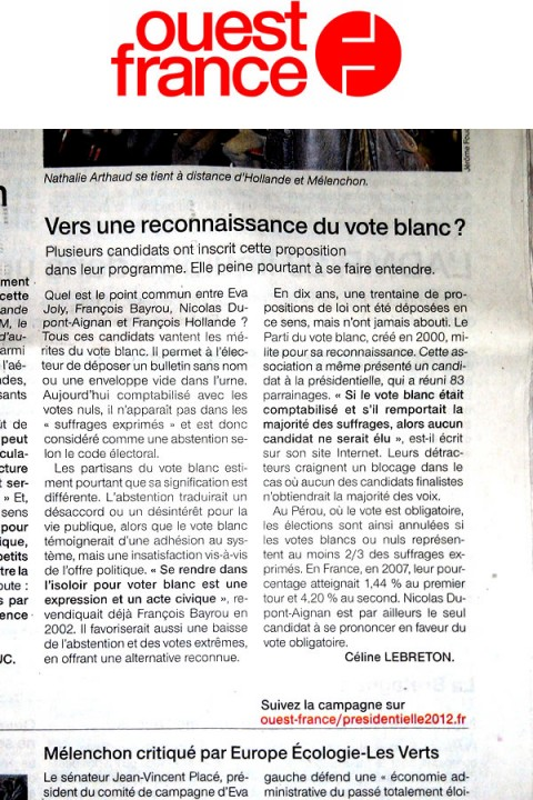 Ouest France & Vote Blanc