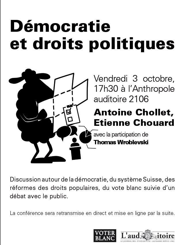 Nos homologues Suisses organisent une discussion autour de la démocratie.