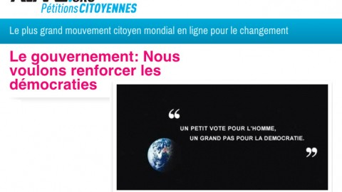 Pétition à vocantion internationale sur le site Avaaz